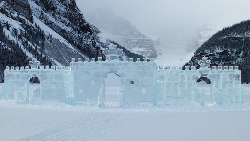 Ice Castle on Lake Louise in Banff National Park, Alberta, Canada