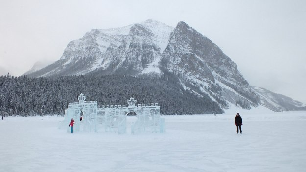 Mountains and the skating rink at Lake Louise in Banff National Park, Alberta, Canada