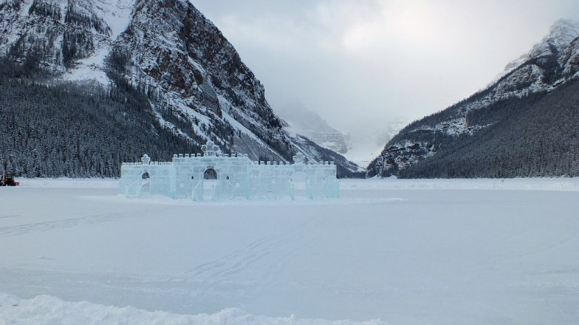 Ice Castle in the winter on Lake Louise in Banff National Park, Alberta, Canada
