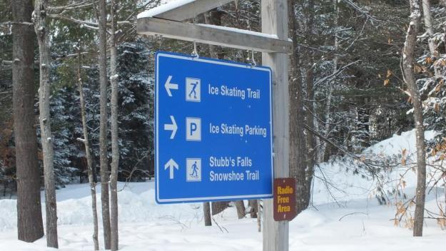 Ice skating sign at Arrowhead Provincial Park near Huntsville, Ontario, Canada