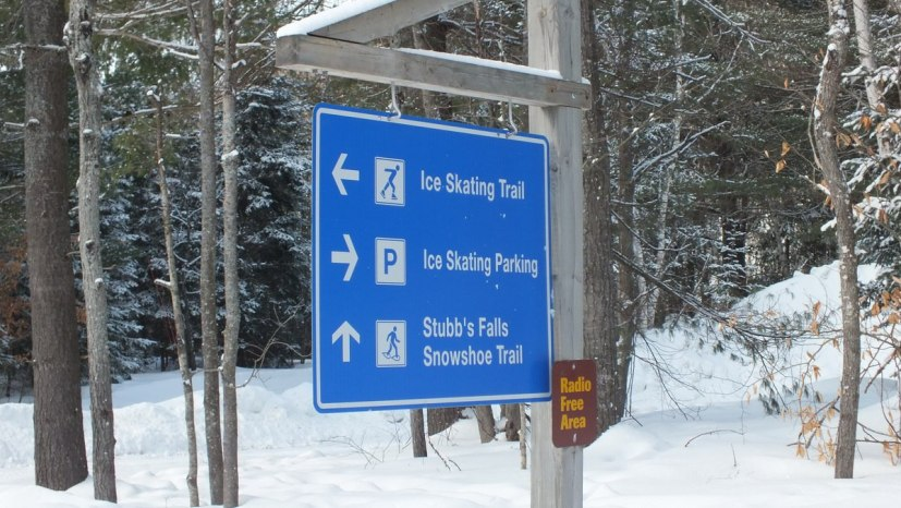 Ice skating sign at Arrowhead Provincial Park near Huntsville, Ontario, Canada