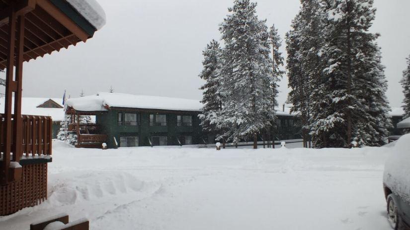lake louise Inn on snowy morning - banff national park 2