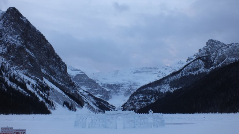 Snow falling on Mount Victoria at Lake Louise in Banff National Park, Alberta, Canada