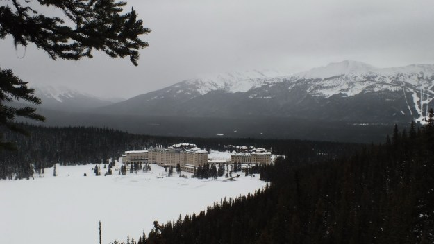 Chateau Lake Louise on the shores of Lake Louise in the winter, Banff National Park, Alberta, Canada