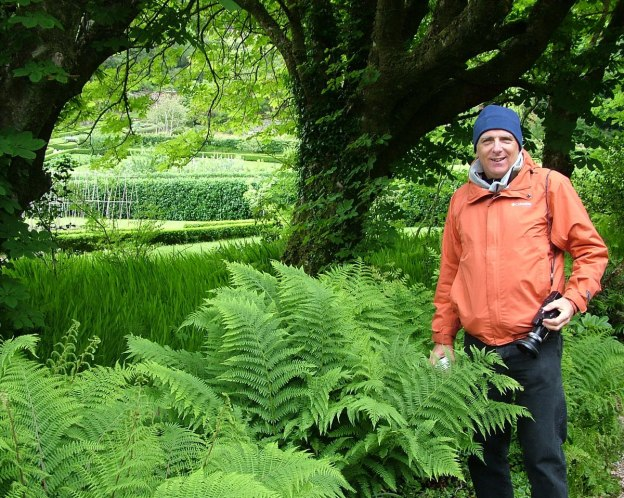 Bob standing beside ferns that are growing in the Walled Victorian Gardens at Kylemore Abbey in County Galway, Ireland.