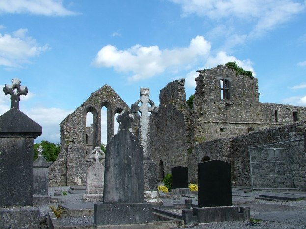 An image of the gravestones and walls at the Royal Abbey of Cong in Cong, County Mayo, Ireland. Photography by Frame To Frame - Bob and Jean