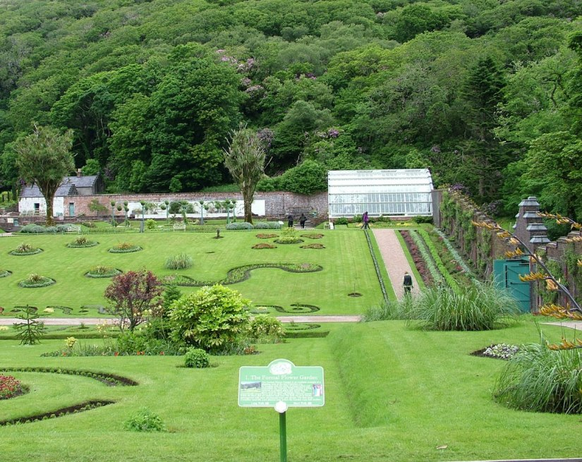 Formal flower gardens in the Walled Victorian Gardens at Kylemore Abbey in County Galway, Ireland.