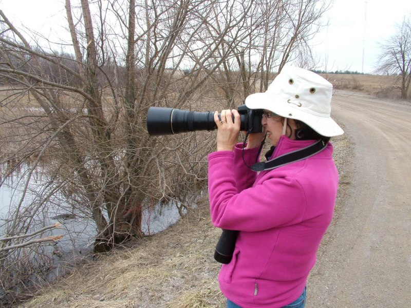 Jean taking pictures at Grass Lake near Cambridge, Ontario, Canada