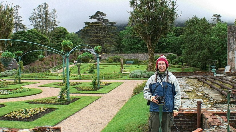 Jean in the Walled Victorian Gardens at Kylemore Abbey in County Galway, Ireland.