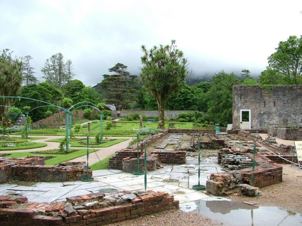 Greenhouse remnants at Kylemore Abbey in County Galway, Ireland.
