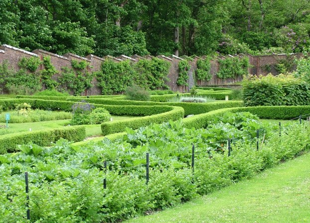 The kitchen garden in the Walled Gardens at Kylemore Abbey in County Galway, Ireland.