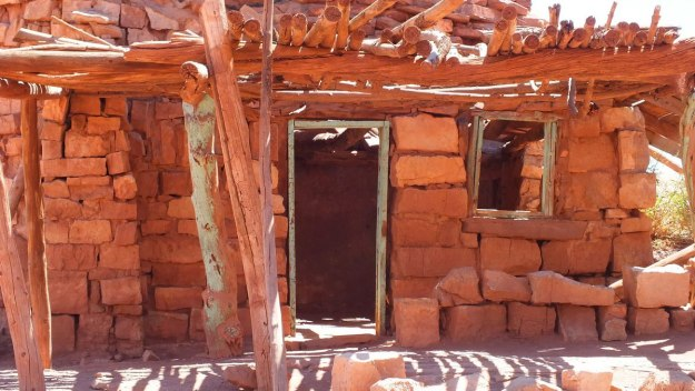 Front doorway and window in a Blanche Russell Rock House in Marble Canyon in Arizona, U.S.A.