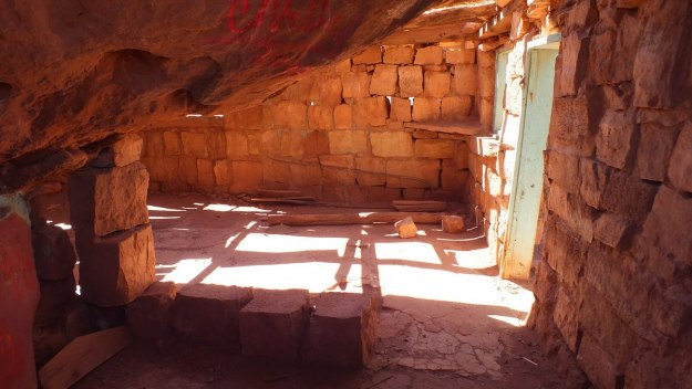 Rock walls and bricks inside a Blanche Russell Rock House in Marble Canyon, Arizona, U.S.A.