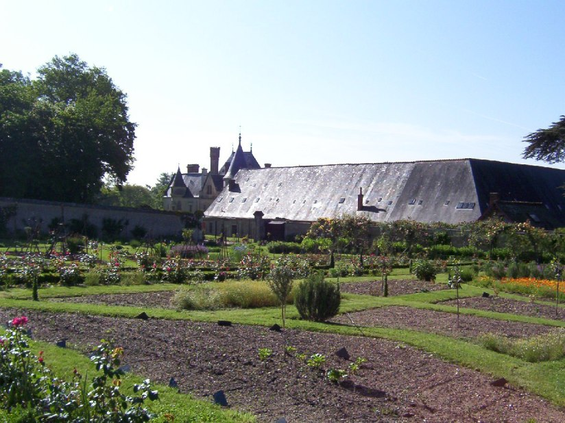 An image of the rose and vegetable gardens at Chateau de la Bourdaisiere in the Loire Valley, France.