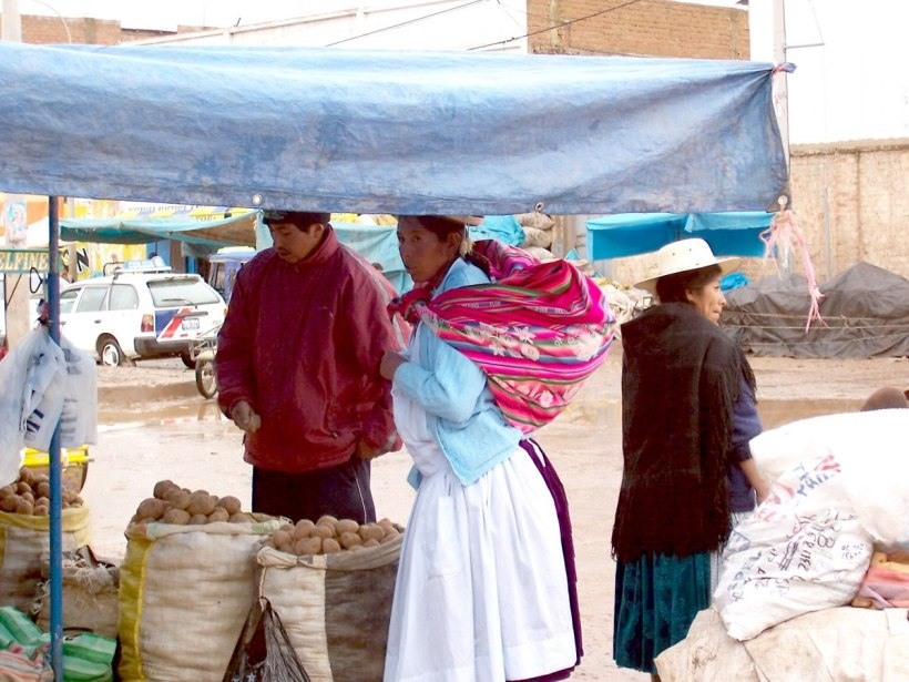 Indigenous native people in puno - peru