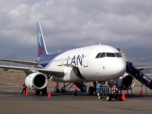 Lan Airlines jet on the Runway in Arequipa, Peru, South America