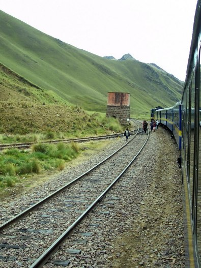 PeruRail Andean Explorer train stopped at La Raya in Peru, South AmericaSouth America