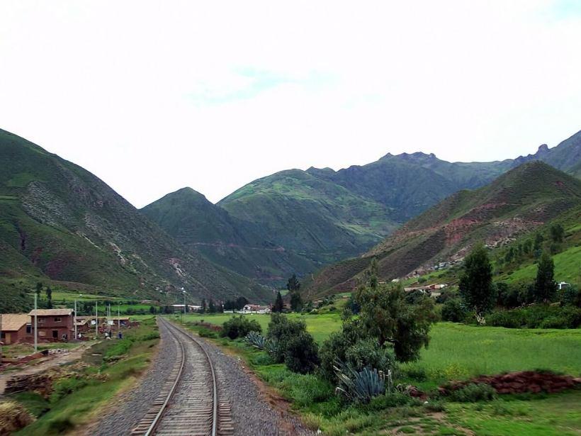PeruRail Andean Explorer train crossing the altiplano in Peru, South America