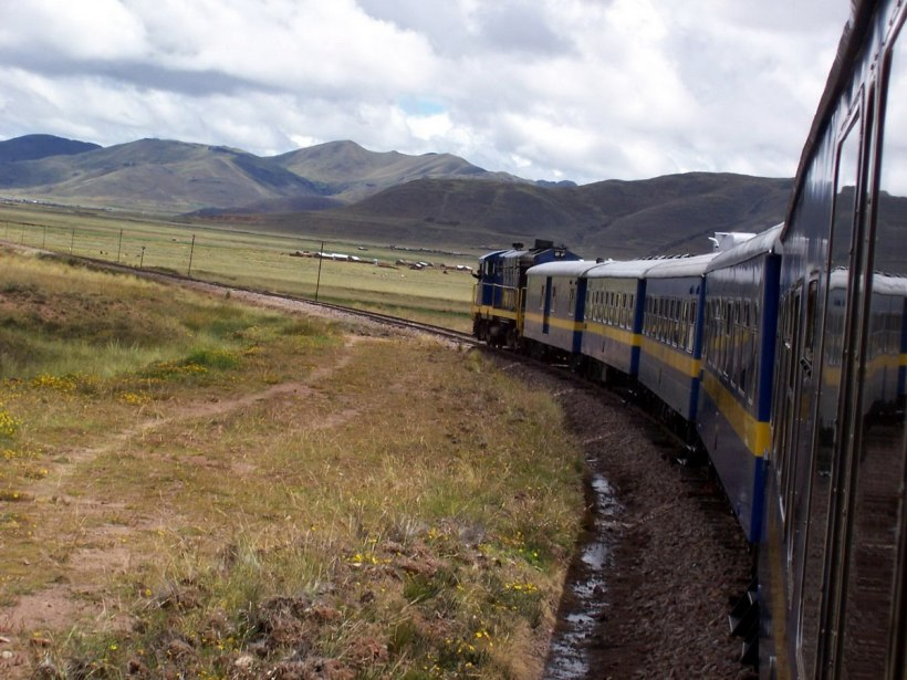 PeruRail Andean Explorer train travels across the Altiplano in Peru, South America