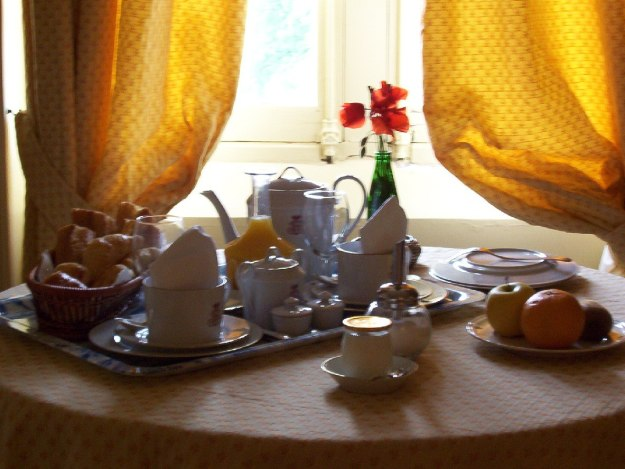 An image of breakfast room service at Chateau de la Bourdaisiere in the Loire Valley, France