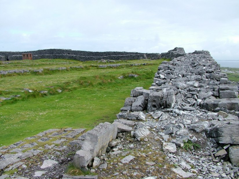 An image of a section of the stone walls of Dun Aonghasa Fort on Inishmore Island, in Ireland. Photography by Frame To Frame - Bob and Jean.