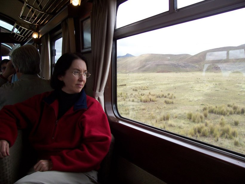 Jean aboard the PeruRail Andean Explorer train in Peru, South America