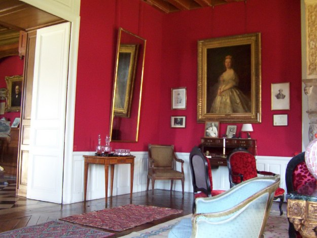 An image of the living room at Chateau de la Bourdaisiere in the Loire Valley, France.
