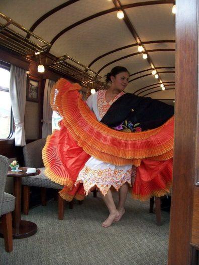 Fashion show aboard the PeruRail Andean Explorer train in Peru, South America