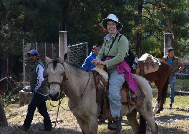 Jean on a horse at Cerro Pelon Butterfly Sanctuary, near Macheros, Mexico