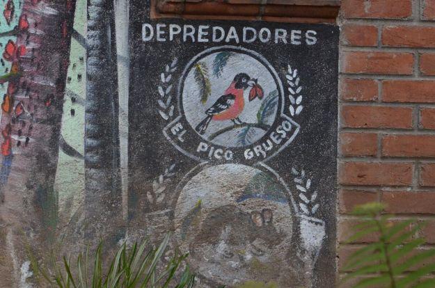 Depredadores sign at the entrance to at El Rosario Monarch Butterfly Reserve, in Michoacán, Mexico