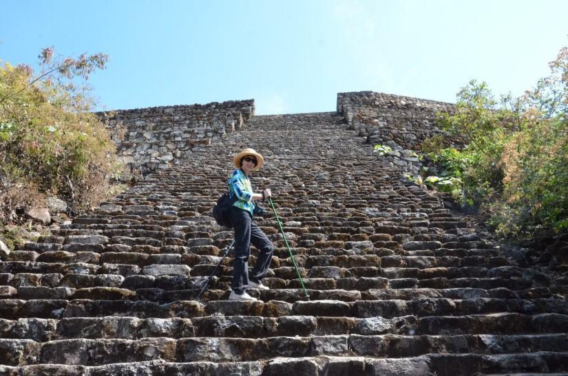 stone stairs of main pyramid of san felipe de los alzati, zitacuaro, mexico 2