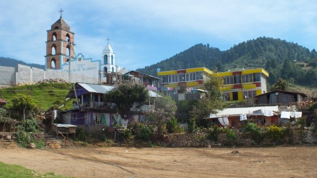 village near el rosario monarch butterfly preserve - mexico