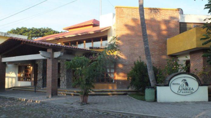the main entrance to Hotel Garza Canela in San Blas, Nayarit, Mexico