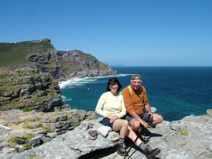 bob and jean hiking at cape of good hope, south africa