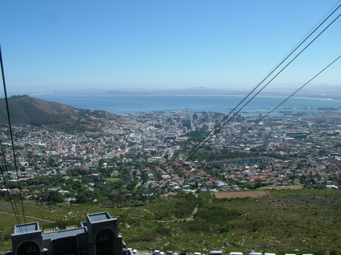 cape town viewed from atop table mountain national park, south africa