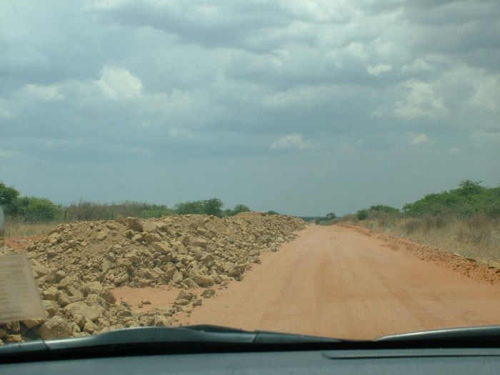 driving through kalahari desert, south africa