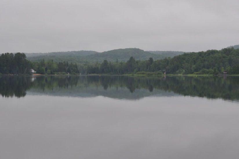 cloudy morning at oxtongue lake, ontario