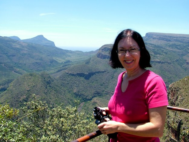 Jean at Drakensberg Escarpment lookout, in South Africa