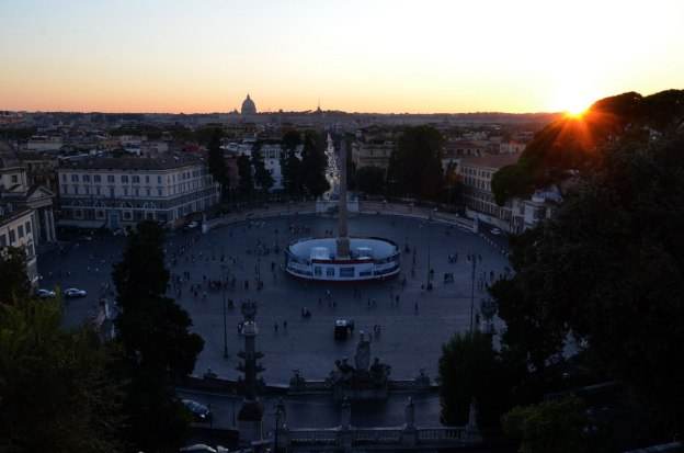Piazza del Popolo urban square at sunset in Rome, Italy