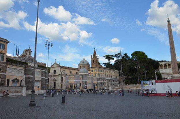 Piazza del Popolo urban square in Rome, Italy