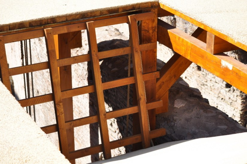 An image of the reconstructed trap door in the floor of the Roman Colosseum, Rome, Italy. Photography by Frame To Frame - Bob and Jean.
