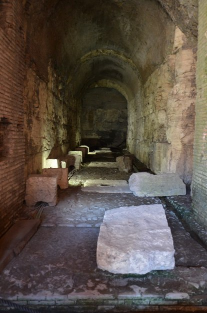 An image of the underground labyrinth the basement area of the Roman Colosseum, Rome, Italy.   Photography by Frame To Frame - Bob and Jean.