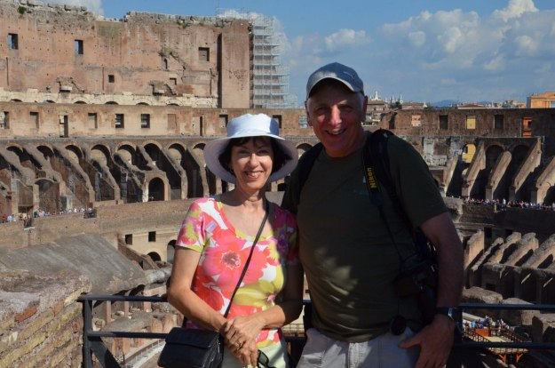 An image of Jean and Bob at the Colosseum in Rome, Italy.
