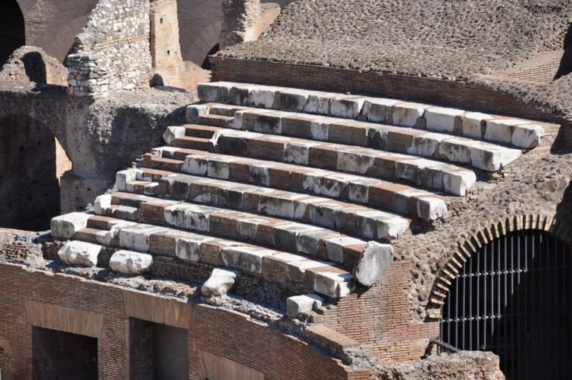 An image of the reconstructed seating in the Colosseum in Rome, Italy. Photography by Frame To Frame - Bob and Jean.