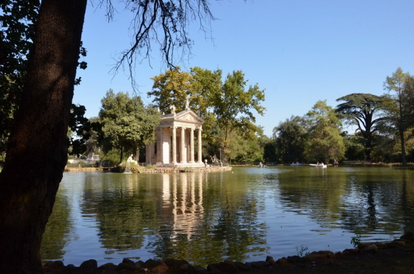 Lake and temple in Villa Borghese Park, Rome, Italy