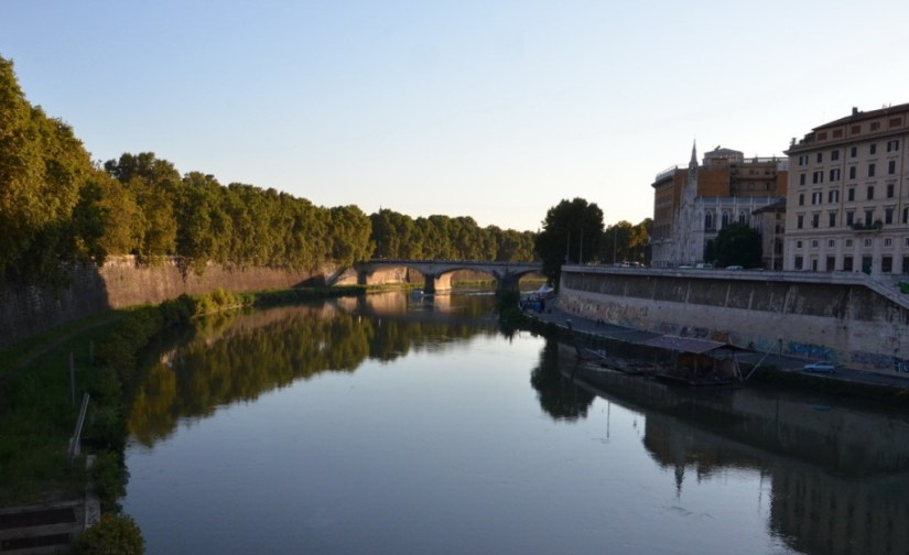 Bridge over the Tiber River, Rome, Italy