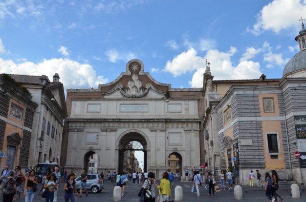 Porta del Popolo gate to Piazza del Popola square in Rome, Italy