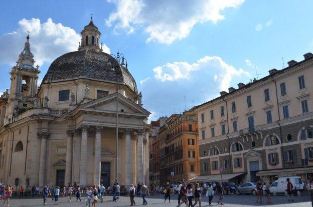 Santa Maria dei Miracoli in Piazza del popola square in Rome, Italy