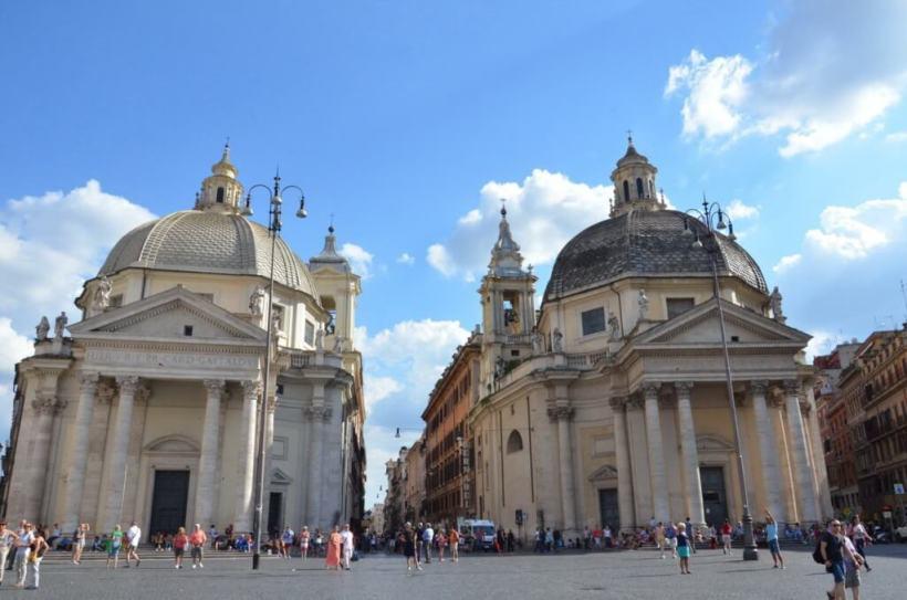 Santa Maria in Monsanto and Santa maria dei miracoli churches in piazza del popola, square, Rome, Italy