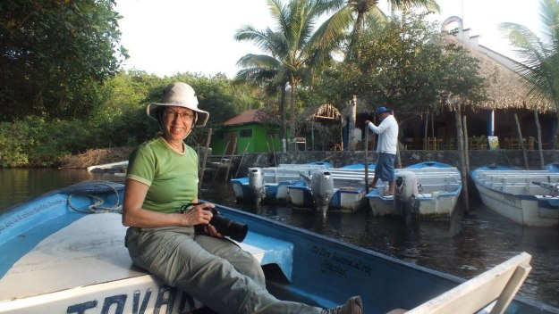 Photo of Jean aboard a boat passing Embarcadero la aguado or the Watery Landing in the mangrove swamp near San Blas, Mexico